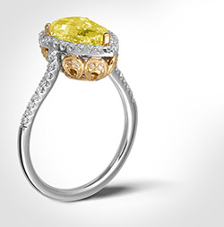 Gemstone ring on white background